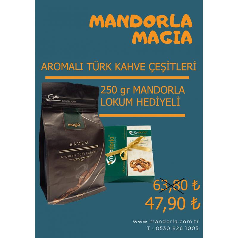 Mandorla Magia Aromalı  Türk Kahvesi + 250 gr Mandorla Lokum